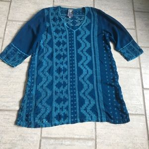 Johnny Was size M Embroidered rayon teal blue top